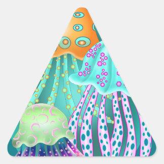 Happy Jellyfish Triangelformat Klistermärke