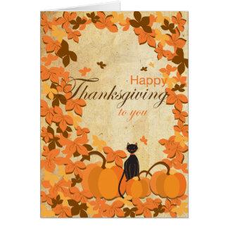 Happy thanksgiving cards katten och pumpor hälsningskort