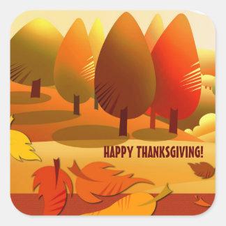 Happy thanksgiving. Höstlandskapklistermärkear Fyrkantigt Klistermärke
