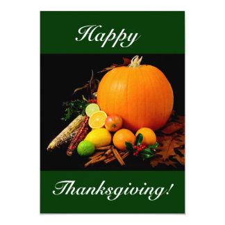 Happy thanksgiving med pumpa och frukt mig 12,7 x 17,8 cm inbjudningskort