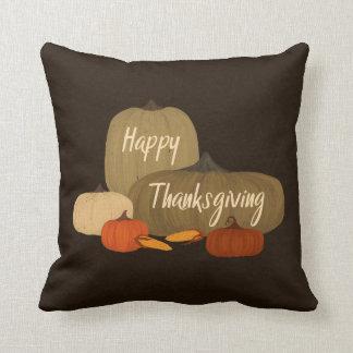 Happy thanksgiving med pumpor kudde