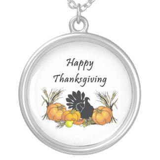 Happy thanksgiving silverpläterat halsband