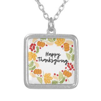 HAPPY THANKSGIVING thanksgivingkran som är gullig Silverpläterat Halsband