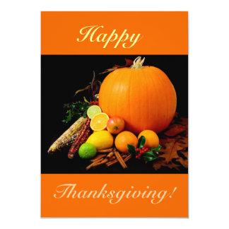 Happy thanksgiving V med pumpa och frukt 12,7 X 17,8 Cm Inbjudningskort