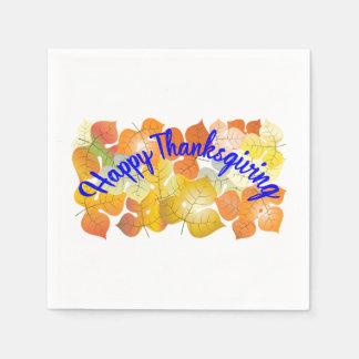 Happy thanksgivingbakgrund med färgrik höst papper servett