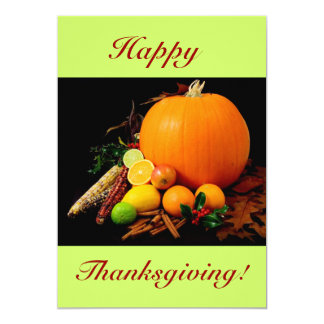 Happy thanksgivingdropp med pumpa och frukt 12,7 x 17,8 cm inbjudningskort