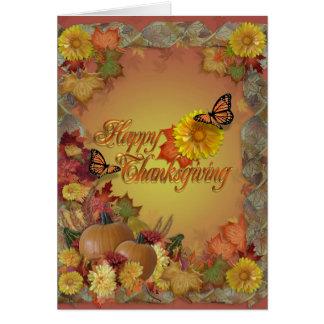 Happy thanksgivingfjärilar och blommor hälsningskort