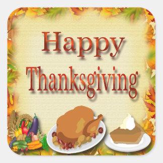 Happy thanksgivingkuvertsälar fyrkantigt klistermärke