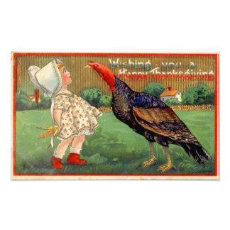 Happy thanksgivingliten flicka och Turkiet vintage Konstfoto