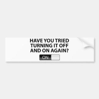 Har du försökt som är roterande det 'På/av' igen? Bildekal