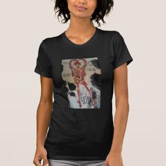 hår för hjärta för v-dagflicka t-shirts
