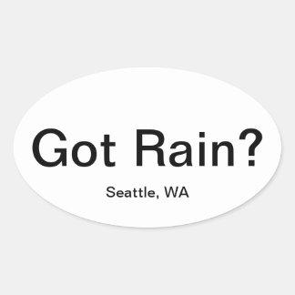 Har regnar? ovalt klistermärke