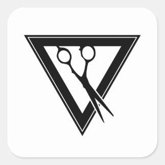 hår scissors triangeln fyrkantigt klistermärke