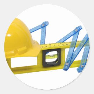 HardHatLevelConstruction062509 Runda Klistermärken