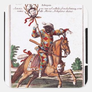 Harlequin på hästrygg fyrkantigt klistermärke