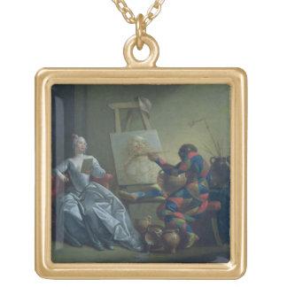 Harlequinmålare, c.1742 (olja på kanfas) guldpläterat halsband