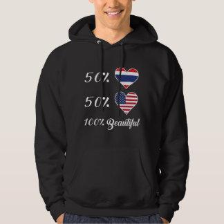 Härlig 50% thailändsk 50% amerikan 100% sweatshirt med luva