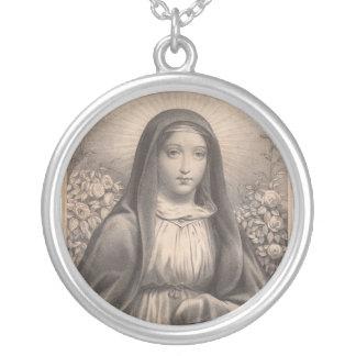 Härlig antik fransk avbildar av den heliga silverpläterat halsband