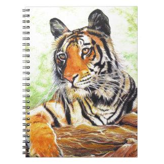 härlig avslappnande tigerakvarell anteckningsbok med spiral