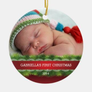 Härlig baby första prydnad för julfoto julgransprydnad keramik
