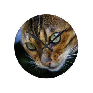 Härlig Bengal katt Rund Klocka