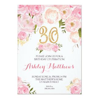 Härlig blom- inbjudan för 30års födelsedag,