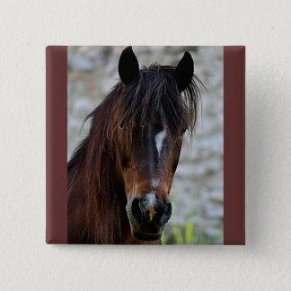 Härlig brun häst standard kanpp fyrkantig 5.1 cm