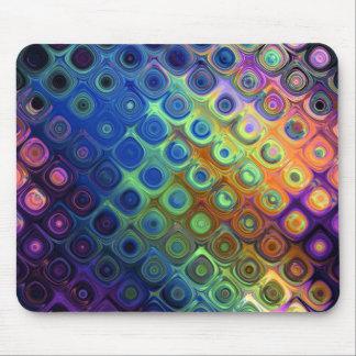 Härlig coolaabstrakt kvadrerar cirklar glass glöd musmatta