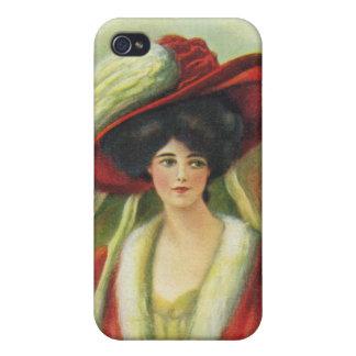 Härlig dam i en stor röd Hatt-Vintage iPhone 4 Cover