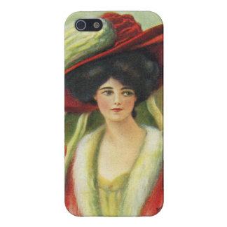 Härlig dam i en stor röd Hatt-Vintage iPhone 5 Fodraler
