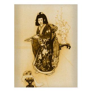 Härlig delikat Japan GeishaSepia med kimonoen Vykort