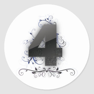 Härlig design för numrera 4 runt klistermärke