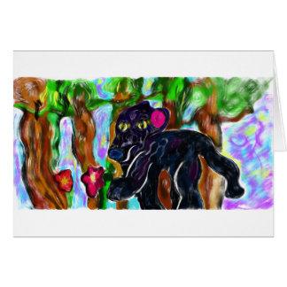 härlig djungel för svart panter hälsningskort