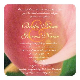 Härlig elegant blek - liljabröllop för rosa Calla Fyrkantigt 13,3 Cm Inbjudningskort
