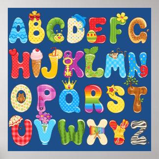 Härlig färgrik alfabetför barn, baby rum poster