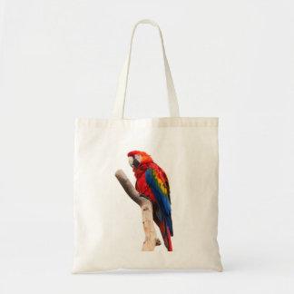Härlig färgrik scharlakansröd Macawpapegojafågel Tygkasse