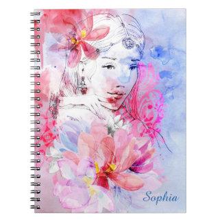 Härlig flicka med en bukett av blommor anteckningsbok med spiral
