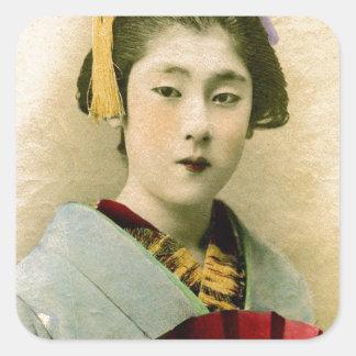Härlig Geisha Fyrkantigt Klistermärke