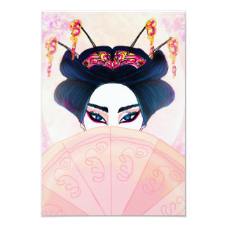 Härlig geishaporträttinbjudan 8,9 x 12,7 cm inbjudningskort