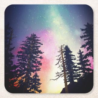 Härlig glänsande natthimmel upp till himmlarna underlägg papper kvadrat