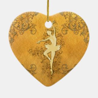 Härlig guld- ballerina julgransprydnad keramik