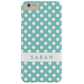 Härlig gullig polka dots för vitMintgrönt Barely There iPhone 6 Plus Skal
