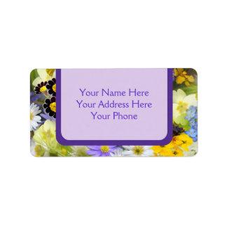 Härlig gult för vår blommorCollageViolet Adressetikett