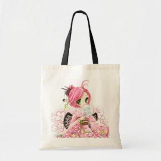 Härlig japansk flicka i Kimono Budget Tygkasse