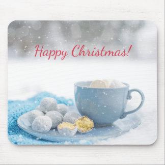 Härlig julatmosfär med varm choklad musmattor