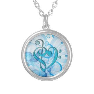 Härlig kall musik noter tillsammans fas en hjärta silverpläterat halsband
