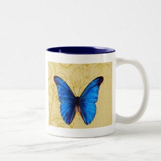Härlig konst för blåttfjärilsvintage Två-Tonad mugg