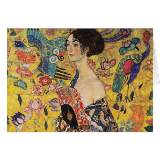 Härlig kvinna med fläkten vid Klimt Hälsningskort