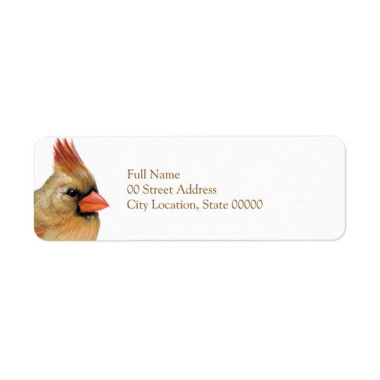 Härlig kvinnlig kardinal returadress etikett