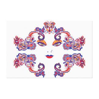 Härlig långt - östlig kvinna ansiktePaisley design Canvastryck
